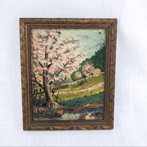 Vintage Miniature Hand Painted Framed Painting